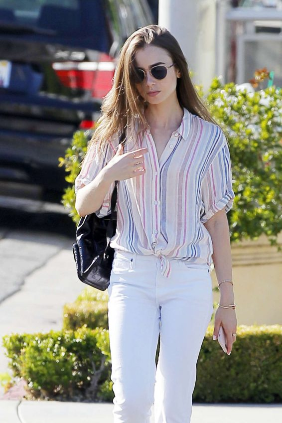 Lily Collins in White Pants - Out in Beverly Hills