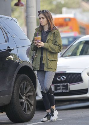 Lily Collins Leaves Coffee Bean in Los Angeles