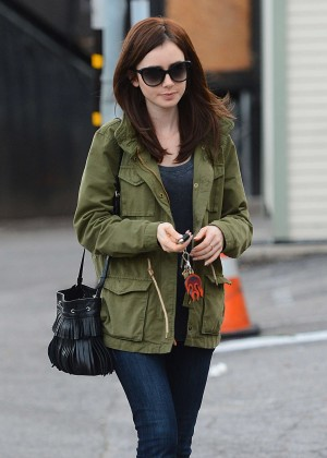 Lily Collins Leaves Her Moms Gift Shop in LA