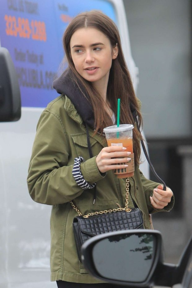Lily Collins - Leaves Starbucks in West Hollywood