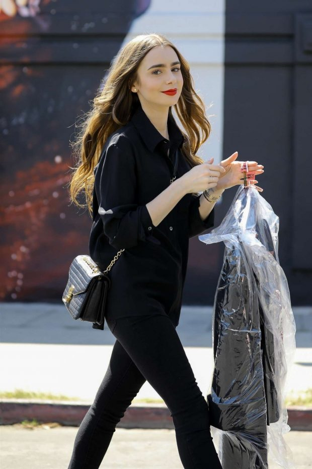 Lily Collins - Leaves the dry cleaners in West Hollywood