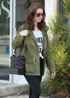 Lily Collins Leaves the gym in West Hollywood