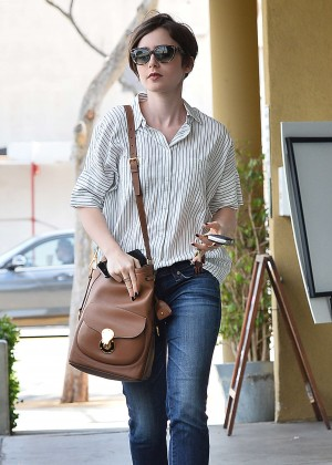Lily Collins in Jeans -01