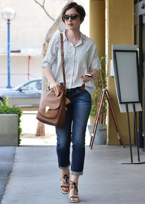 Lily Collins in Jeans -02