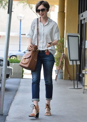 Lily Collins in Jeans Leaving EarthBar in West Hollywood