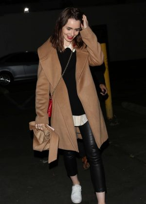 Lily Collins Leaving Hugo's Restaurant in Los Angeles