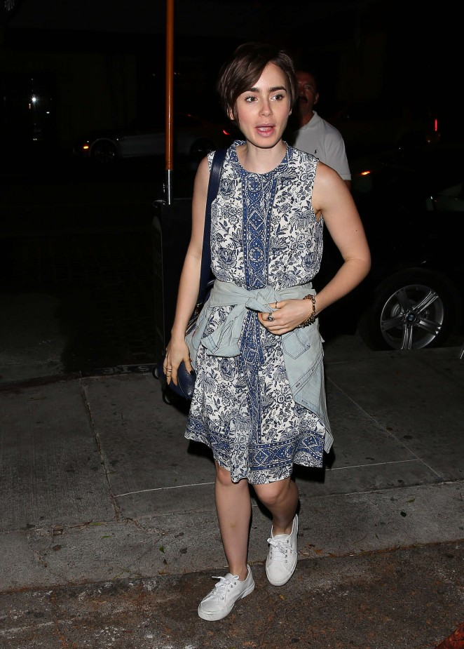 Lily Collins - Leaving Taste Restaurant in West Hollywood