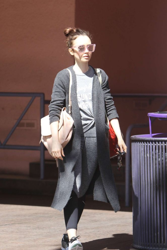 Lily Collins Leaving the gym in West Hollywood