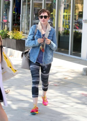 Lily Collins in Tights Leaving the gym in West Hollywood