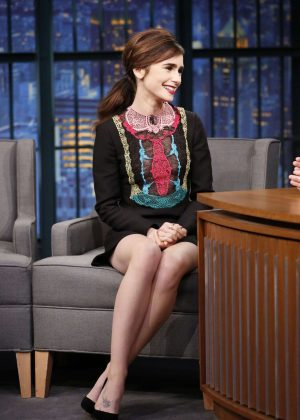 Lily Collins on 'Late Night with Seth Meyers' in New York City