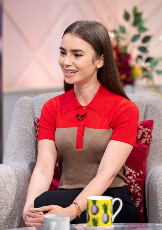 Lily Collins – On 'Lorraine' TV Show in London