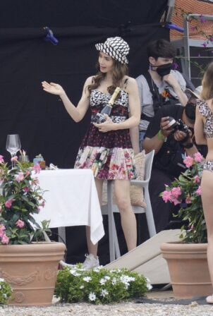 Lily Collins - on set filming for 'Emily In Paris' in Saint-Jean-Cap-Ferrat