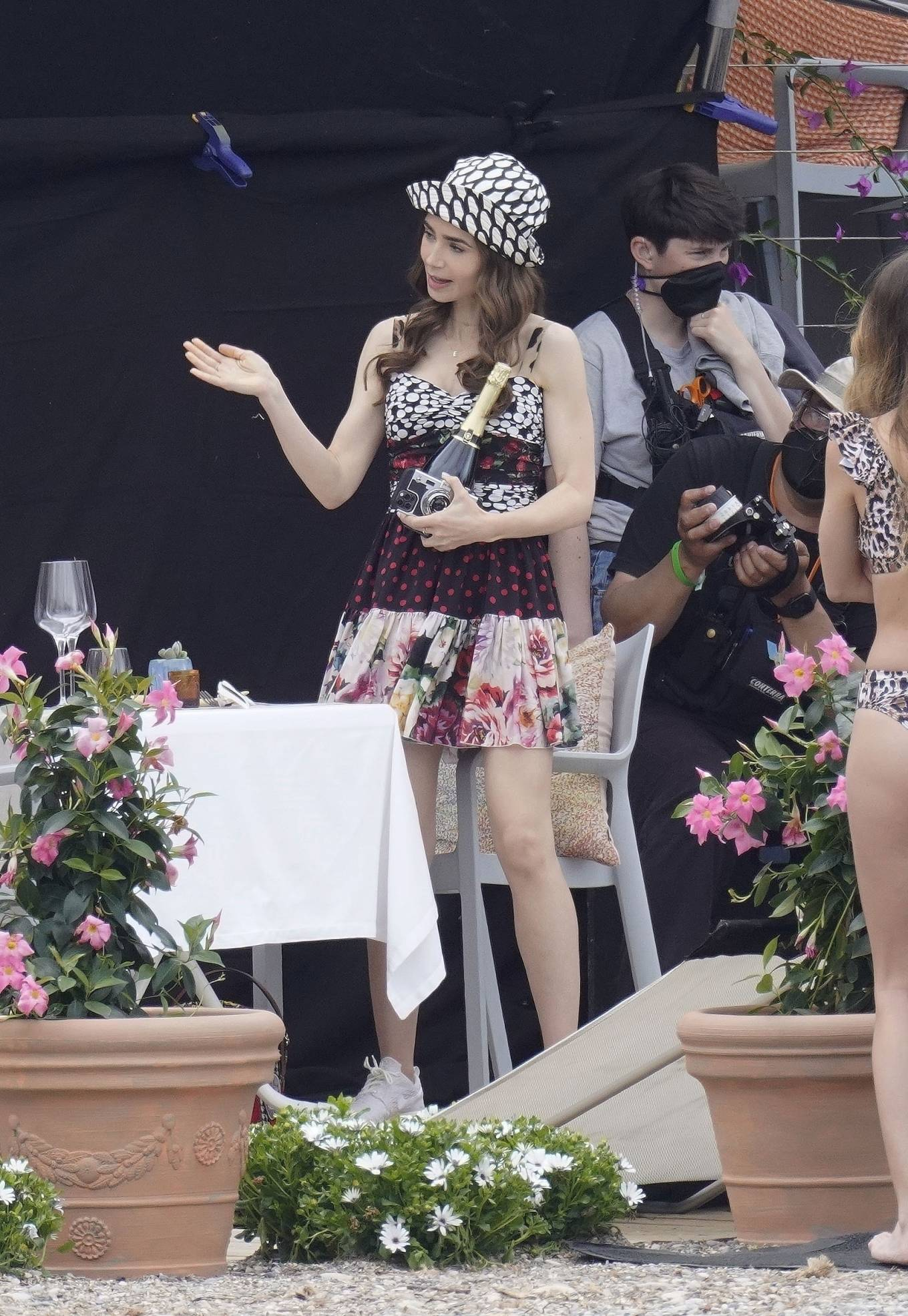 Lily Collins - on set filming for 'Emily In Paris' in Saint-Jean-Cap-Ferrat