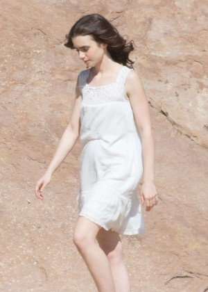 Lily Collins on Set for 'To The Bone' in Los Angeles