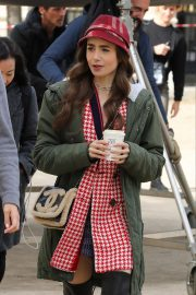 Lily Collins - On the set of 'Emily in Paris' in Paris