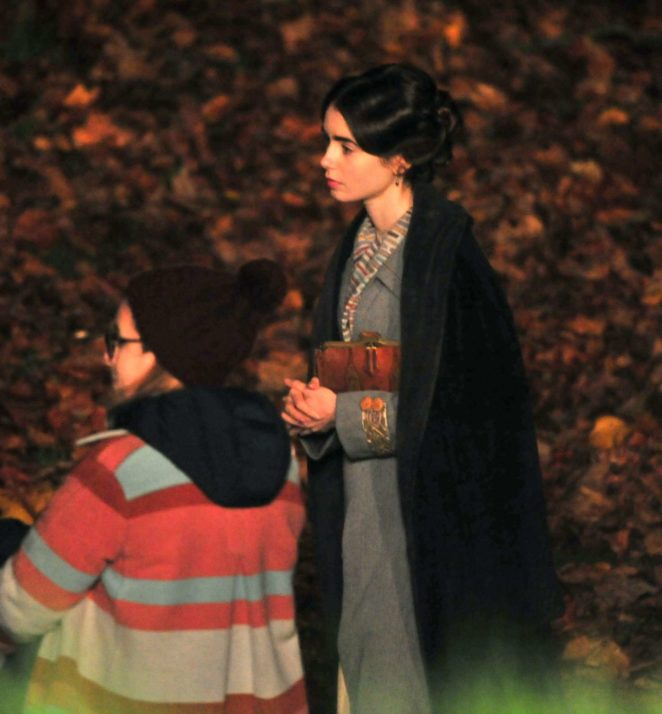 Lily Collins - On the set of her new film 'Tolkien' in Liverpool