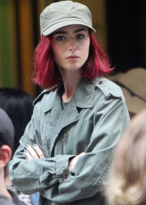 Lily Collins - On the Set of Okja' in New York City