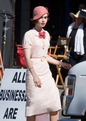 Lily Collins on the set of 'The Last Tycoon' in LA