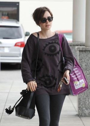 Lily Collins in Tight Leggings Out in LA