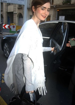 Lily Collins - Out and about in Paris