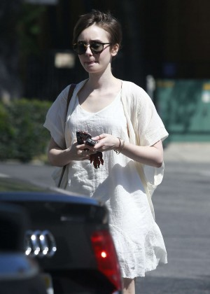 Lily Collins in White Mini Dress -02