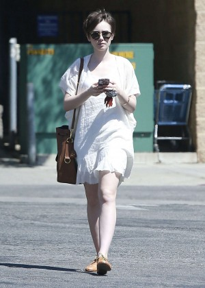 Lily Collins in White Mini Dress -04