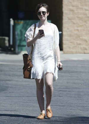 Lily Collins in White Mini Dress -07