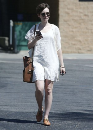 Lily Collins in White Mini Dress -08