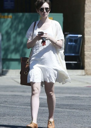 Lily Collins in White Mini Dress -09