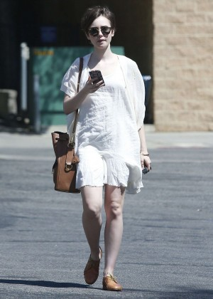 Lily Collins in White Mini Dress -10