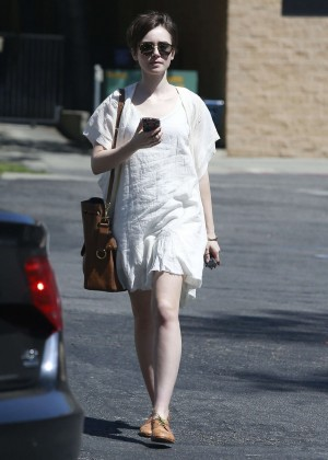 Lily Collins in White Mini Dress -11