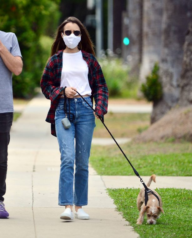 Lily Collins - Out for a walk in Beverly Hills