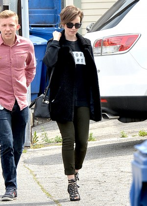 Lily Collins in Tight Jeans Out in Los Angeles