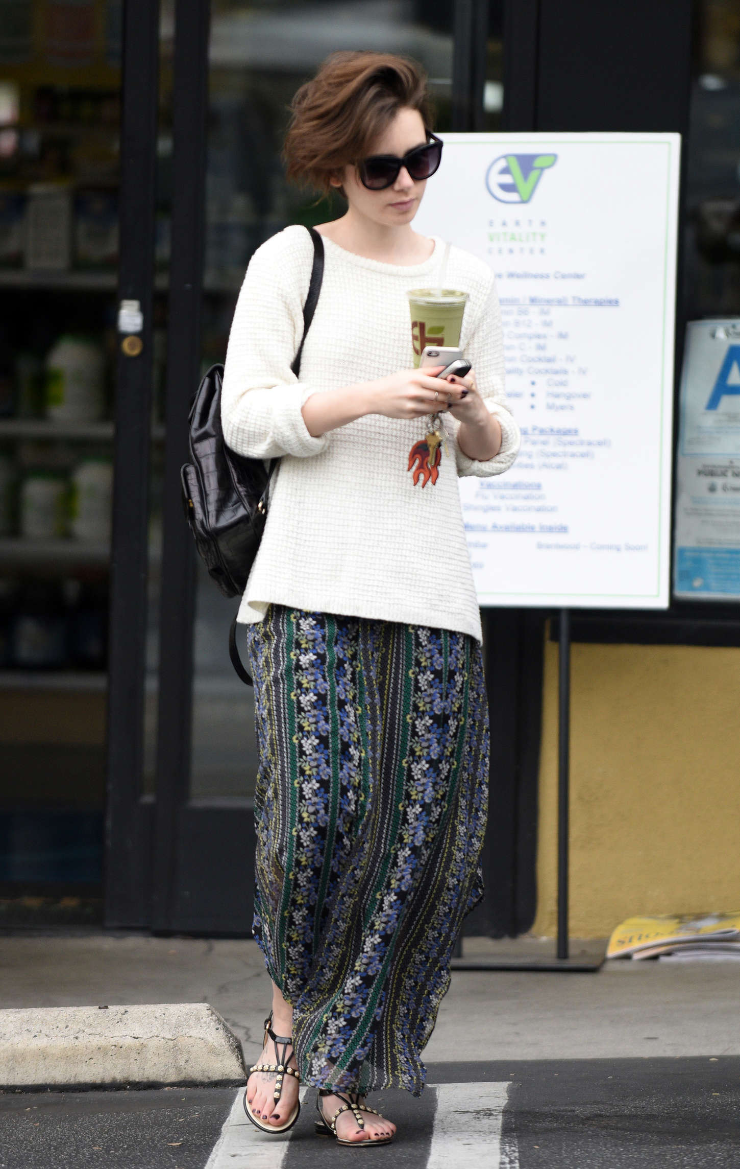 Lily Collins in Long Skirt Out in West Hollywood