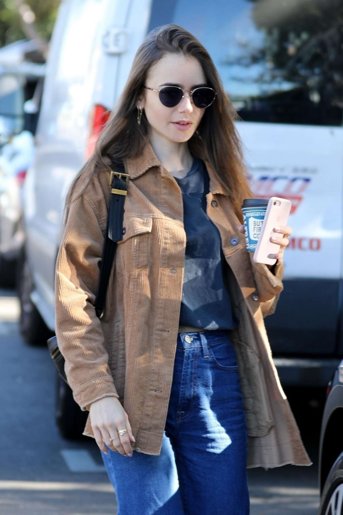 Lily Collins - Out on a coffee run in Los Angeles