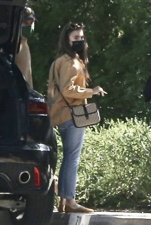 Lily Collins - Out visiting friends in Pasadena