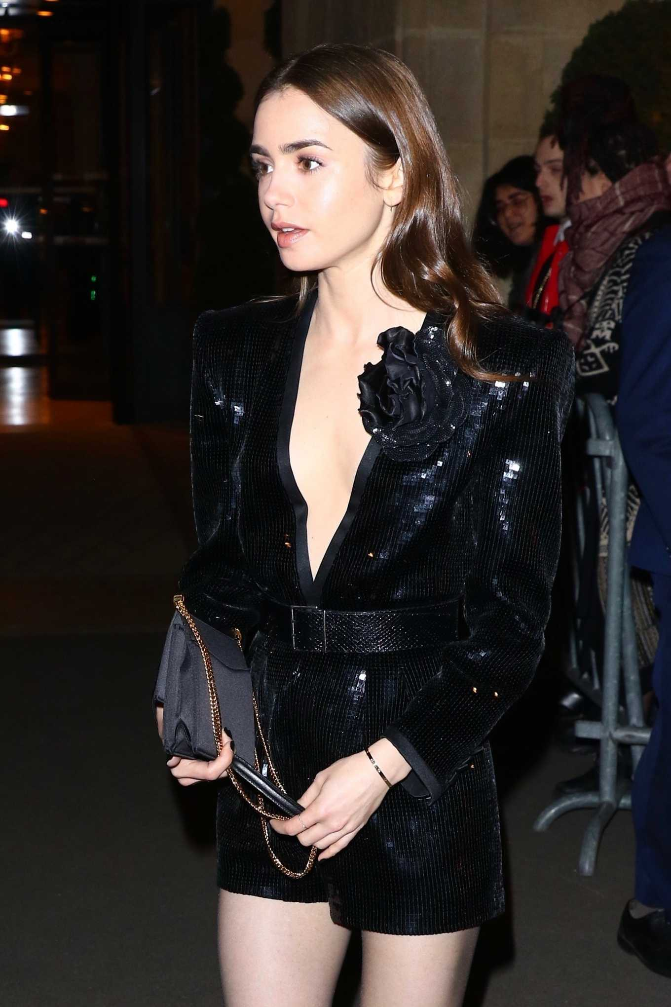 Lily Collins - Outside the Saint Laurent Show at Paris Fashion Week 2020