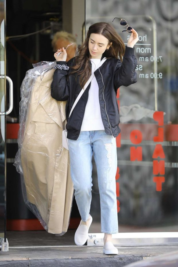 Lily Collins - Picking up some dry cleaning in Los Angeles