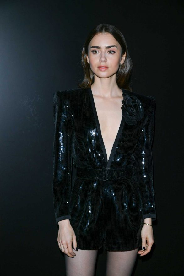 Lily Collins - Saint Laurent Show at Paris Fashion Week 2020
