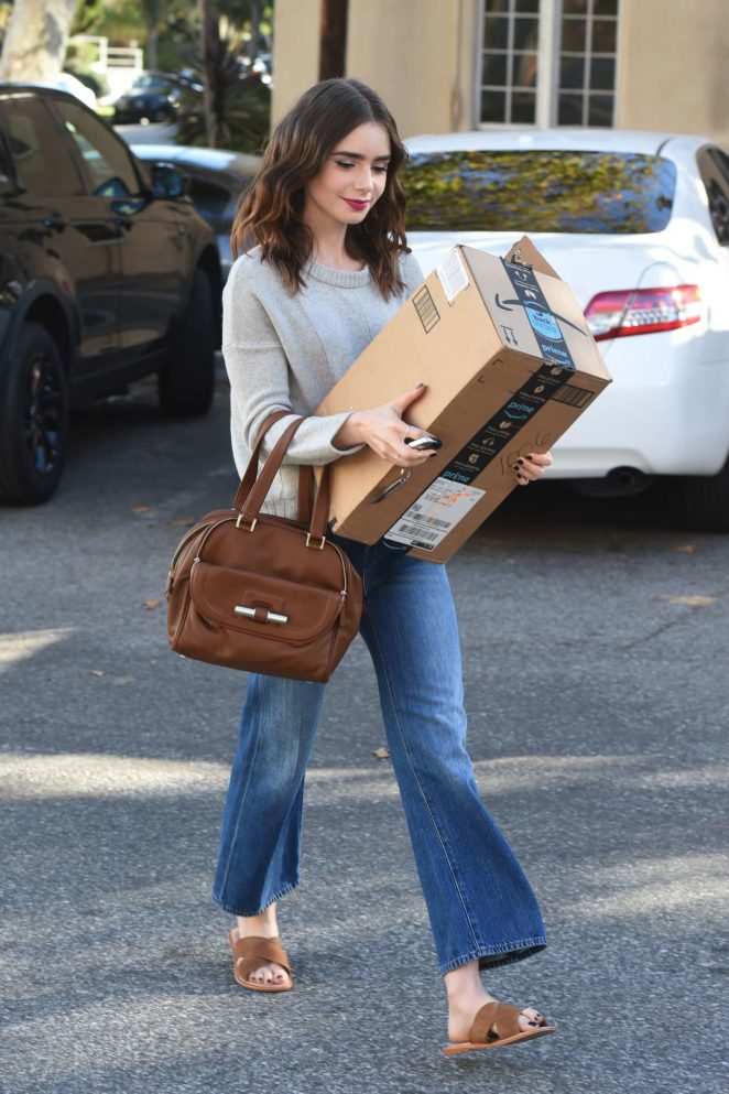 Lily Collins - Seen at the FedEx in Beverly Hills