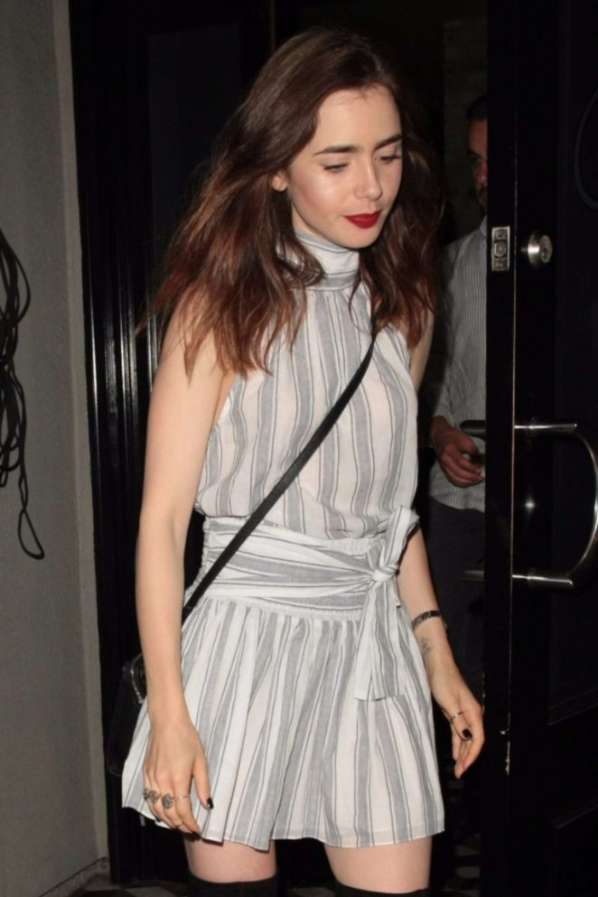 Lily Collins - Seen leaving Craigs restaurant in Los Angeles