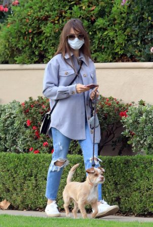 Lily Collins - Seen walking her dog in LA