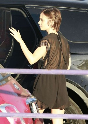 Lily Collins in Short Dress Shopping in West Hollywood