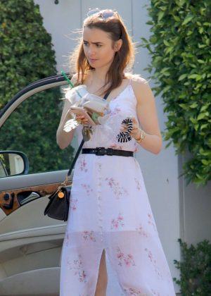 Lily Collins sin Long Dress out in Los Angeles