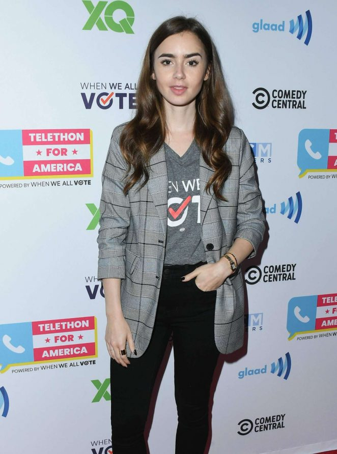 Lily Collins - Telethon For America at YouTube Space LA in Los Angeles