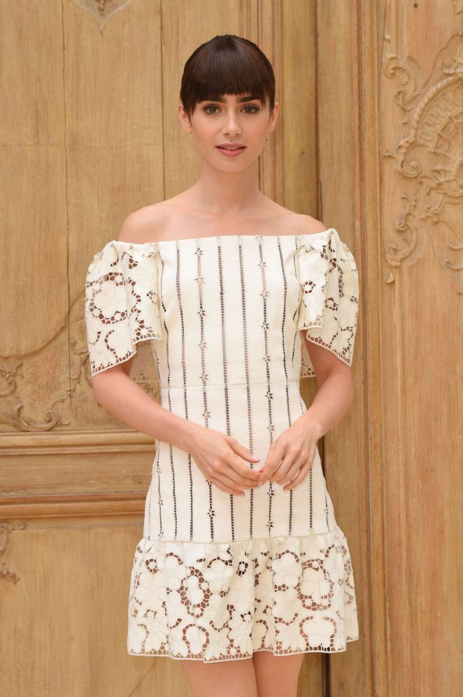 Lily Collins - Valentino Fashion Show SS17 in Paris
