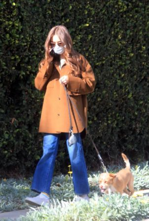Lily Collins - Walk her dog in Los Angeles
