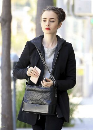 Lily Collins walking out in Beverly Hills