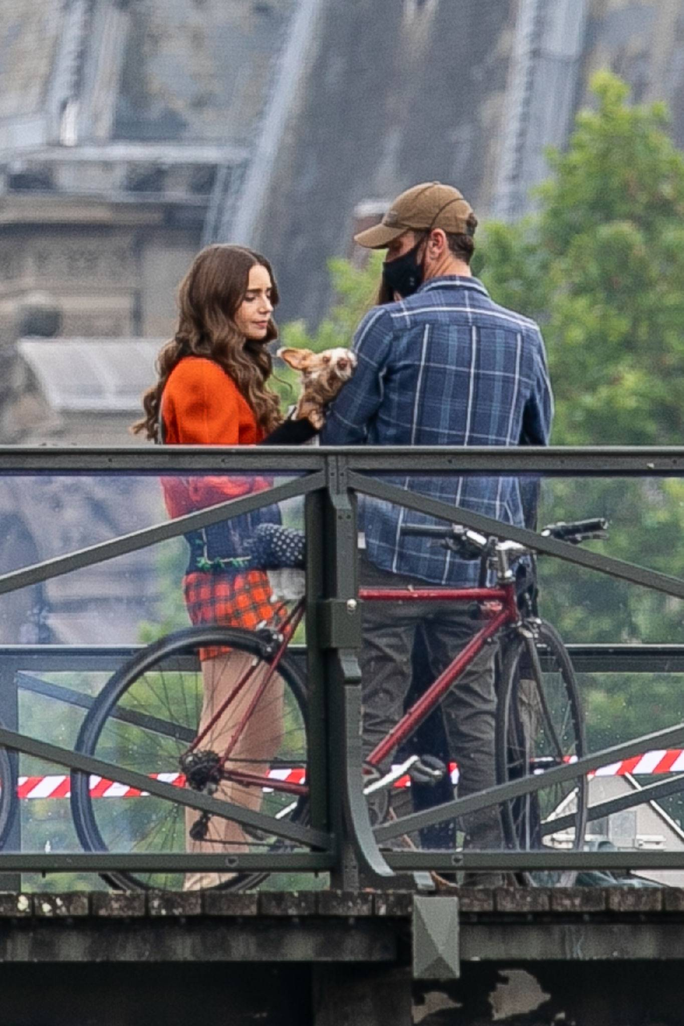 Lily Collins - With Charlie McDowell on the set of 'Emily in Paris' Season 2 in Paris