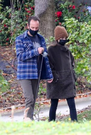 Lily Collins - With Charlie McDowell walk with their dog in Beverly Hills